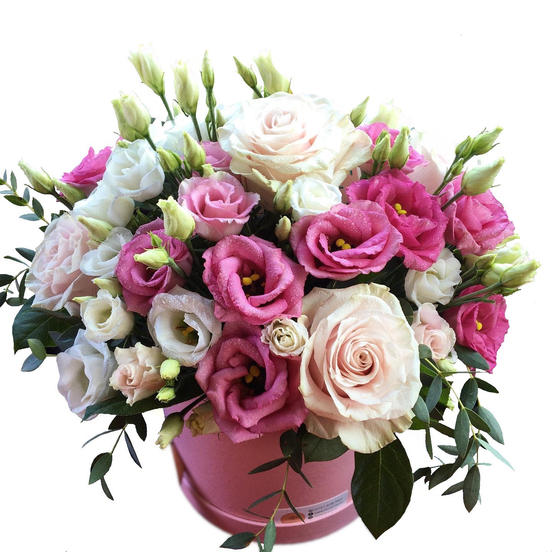 Aranjament in cutie cu trandafiri si eustoma