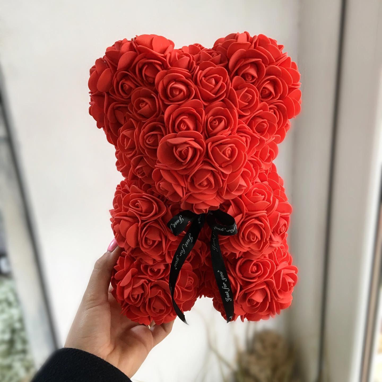 Ursulet mic din trandafiri de spuma, rosu, in cutie
