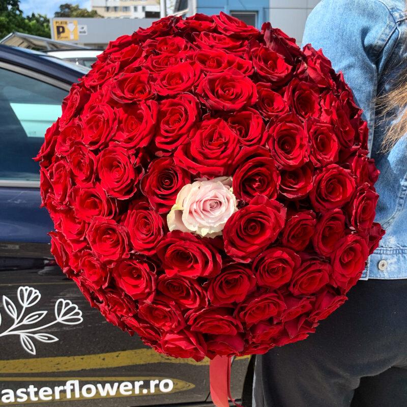 Buchet 93 trandafiri rosii